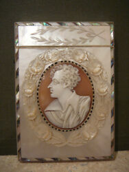 Antique Mother Of Pearl Mop Abalone Calling Card Case Cameo Lord Byron Doves