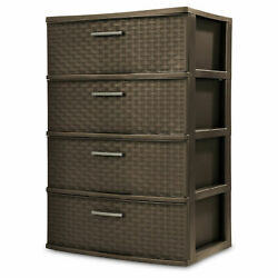 Dressers Chest of Drawers 4 Drawer Wide Weave Tower Bedroom Storage Espresso