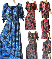 Women Long Maxi Summer Beach Hawaiian Boho Evening Paisley Sundress Plus Size $17.98