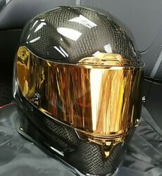 In Stock Icon Airframe Pro Gold Gloss Carbon Fibre Race Motorcycle Crash Helmet