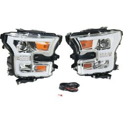 Headlight For 2015-2017 Ford F-150 Left And Right Pair Chrome