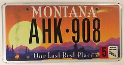 Last Best Place License Plate Glacier Yellowstone National Park Camp Fish Hiking