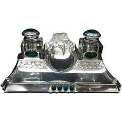 Amazing Art Nouveau Silver Plated German Inkwell Environ 1900
