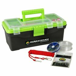 Green Fishing Tackle Box With Starter Kit 55 Pc Lures Line Stringer Swivels