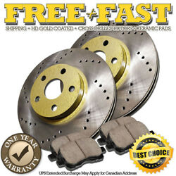 G0496 Front Drilled Gold Rotors Ceramic Pads For 2009 2010 Infiniti Fx35 Fx45