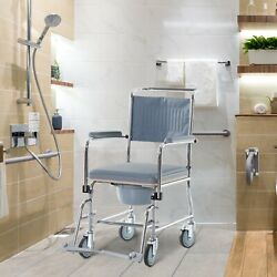 Rolling Shower Wheel Chair W/ Bariatric Removable Bucket And Swinging Footrest