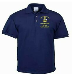 Uss Gregory Dd-802 Navy Anchor Embroidered Light Weight Polo Shirt