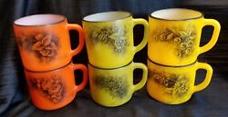 Set Of 6 Vintage Hand Painted Federal Colored Milk Glass Coffee Mugs