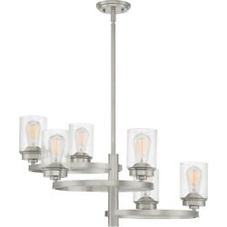Evolution 6 Light Brushed Nickel And Clear Seedy Glass Chandelier Orig 675