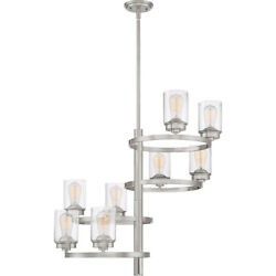 Evolution 8 Light Brushed Nickel And Clear Seedy Glass Chandelier Orig 1050
