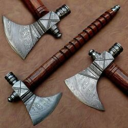 Custom Hand Made Forged Damascus Steel Viking Axe Pipe Tomahawk And Leather Sheath