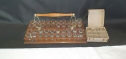 Black Forest Wood With Silvered Metalwork 40 Shot Glass Communion Tray And Glasses