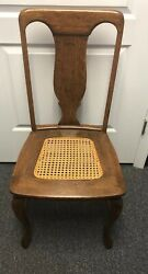 Antique Carved Oak Or Maple Wood And Cane Seat Side Chair Dining Desk Accent