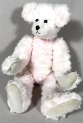 Vintage 15 Pink Fluffy Jointed Teddy Bear Velvet Paw Pads Weighted Button Eyes