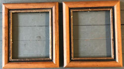 A Pair Vintage Folk Art Wood With Gilt Liner. 8 X 10 Picture Frames