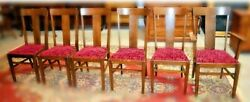 Antique Set Of 6-t-back Oak Chairs By Hickory Chair Mfg. Co. 70