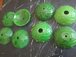 Set Of 8 Bobeche Murano Green Glass For Chandelier Or Lamp Parts