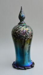 Blue Iridescent Vase With Tree Design By Saul Alcaraz. Blown