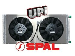 24v Remote Mount Parallel Flow A/c Condenser W Dual 9 Spal Pusher Fans And Shroud
