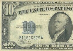 1934a Ten Dollar Bill Note B11606529a. Vintage In Great Condition.