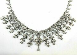 96.74Ct Round Marquese Pear Natural Diamond 18Kt White Gold Cluster Necklace