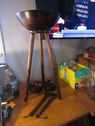 Wood Standing Side Table Salad Bowl Serving Set Stand 4 Bowls And Utensils