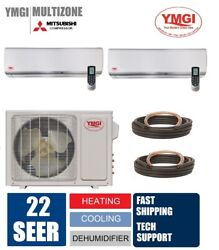 Ymgi 24000 Btu Two Zone Ductless Mini Split Ductless Air Conditioner Wall 2 Ton