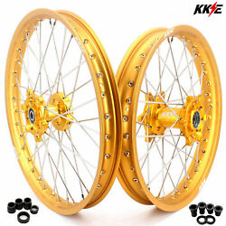 Kke 21/19 For Suzuki Rm125 Rm250 1996-2008 Motorcycle Mx Spoked Wheels Rims Gold