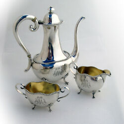 Beaded 3 Piece Demitasse Coffee Set National Sterling Silver Mono M