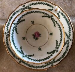 And Co Minton Demitasse Cups Saucers Pink Roses Green Gold Trim England