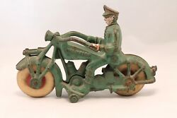 Vintage Cast Iron Hubley Champion Toy Motorcycle Policeman Rider