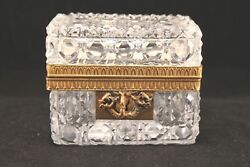 Antique French Gilded Brass Starburst Faceted Casket Jewelry Box Lock And Key