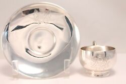 Antique Silver 950 Engraved Lions Cup And Saucer Alfred Hector W/ Minerva Mark