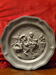 Vintage French Pewter Embossed Plate Metal Wall Hanging Relief Bowl Home Decor