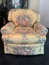 Ralph Lauren EVELYN Pattern Chair Yellow Chintz Floral Ribbon French Country