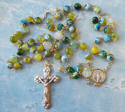 Unique Green Fire Agate Beads Rosary Two Tone Italy