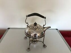 Lovely Silver Plated Spirit Kettle On A Four Legged Stand And Burner Spsk Ee 41