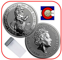 2020 Queenand039s Beast White Lion Of Mortimer 2 Oz Silver Coin -- 10 Coin Roll/tube