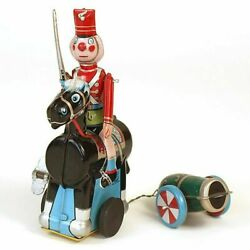 T.p.s. 1960s Toy Soldier On Horse Pulling Cannon Tin Wind-up Toy Made In Japan