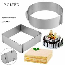 Mousse Cake Ring Stainless Steel Square Adjustable Baking Mould Cutter Bakeware