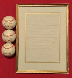 1945 Wwii Dom Dimaggio Signed Letter And 3 Spalding Us Navy Signed Baseballs Wynn