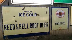 Pair Rare Large Aandw Reed And Bell Root Beer 1924-1945 Porcelain Store Soda Sign