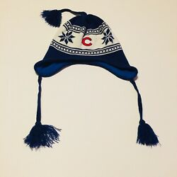 Winter Knit Beanie Hat Cap Mlb Chicago Cubs Os Ear Flaps Tassels Lined