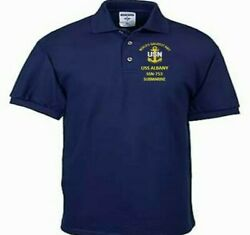Uss Albany Ssn-753 Submarine Navy Embroidered Light Weight Polo Shirt