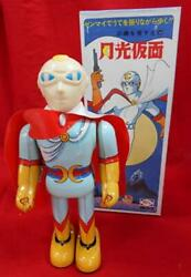 Gekko Kamen Tin Wind-up Bullmark Figure Yellow Light Blue Red Vintage From Japan