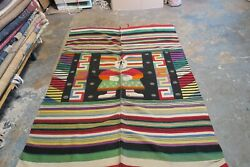Vintage Mexican Ceremonial Blanket Wool Kilim Rug Weaving 5and0396 X 9and0393
