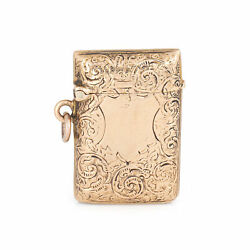 Antique Victorian Match Safe Charm Pendant 9k Rose Gold Etched Snuff Pill Box