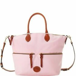 NWT DOONEY amp; BOURKE LARGE POCKET SATCHEL CROSSBODY LEATHER TRIM LIGHT PINK $199 $174.99