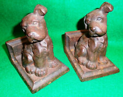 Antique Puppy Book Ends By Littco, Cast Iron Pair, Utterly Adoreable-1920's