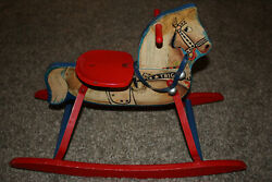 Vintage 1950's Roy Rogers / Trigger Metal And Wood Ride On Toy N N Hill Brass Co